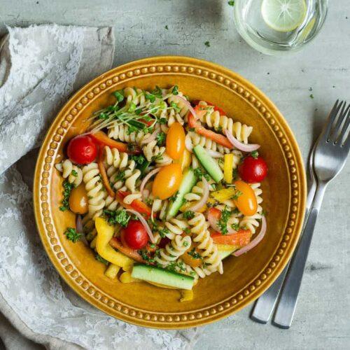 Summer Pasta Salad w/ Basil Balsamic Vinaigrette   Easy vegan pasta salad recipe