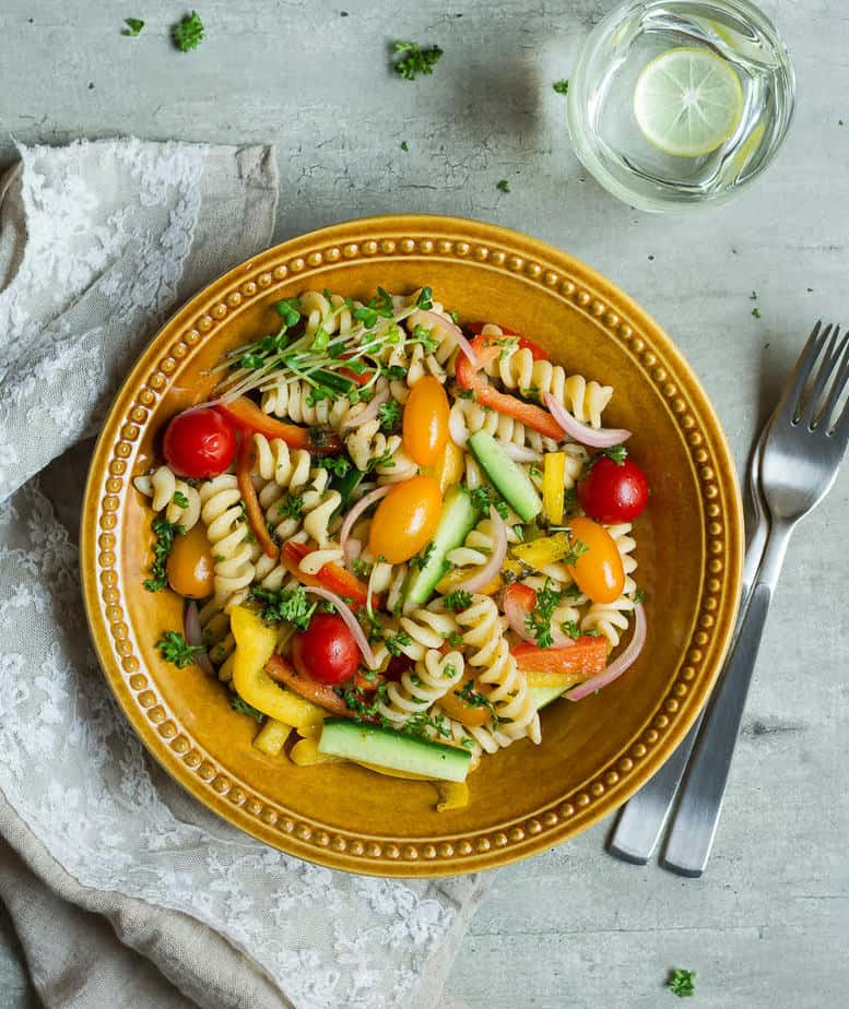 Summer Pasta Salad w/ Basil Balsamic Vinaigrette | Easy vegan pasta salad recipe