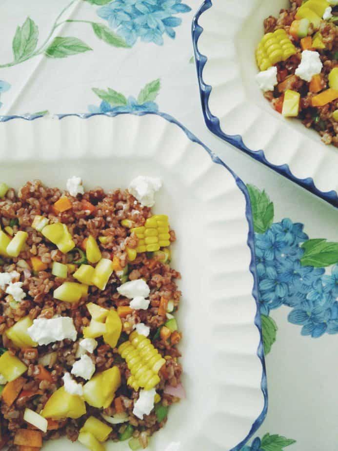 Red Rice & Mango Salad w/ Sriracha Vinaigrette