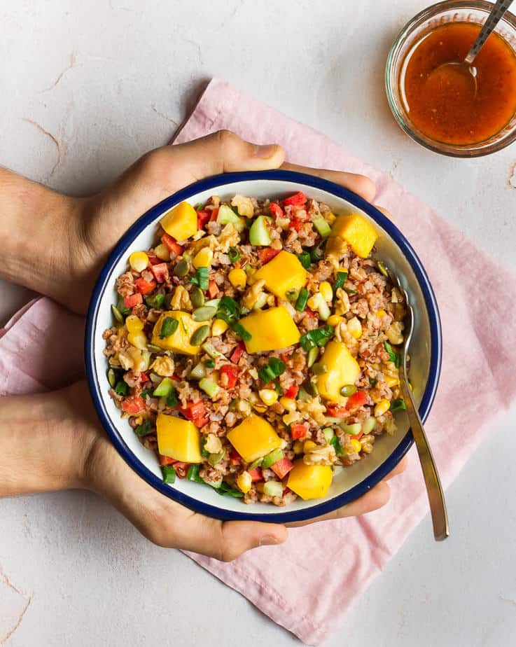 Red Rice & Mango Salad w/ Sriracha Vinaigrette | Healthy Vegan Red Rice Salad Recipe
