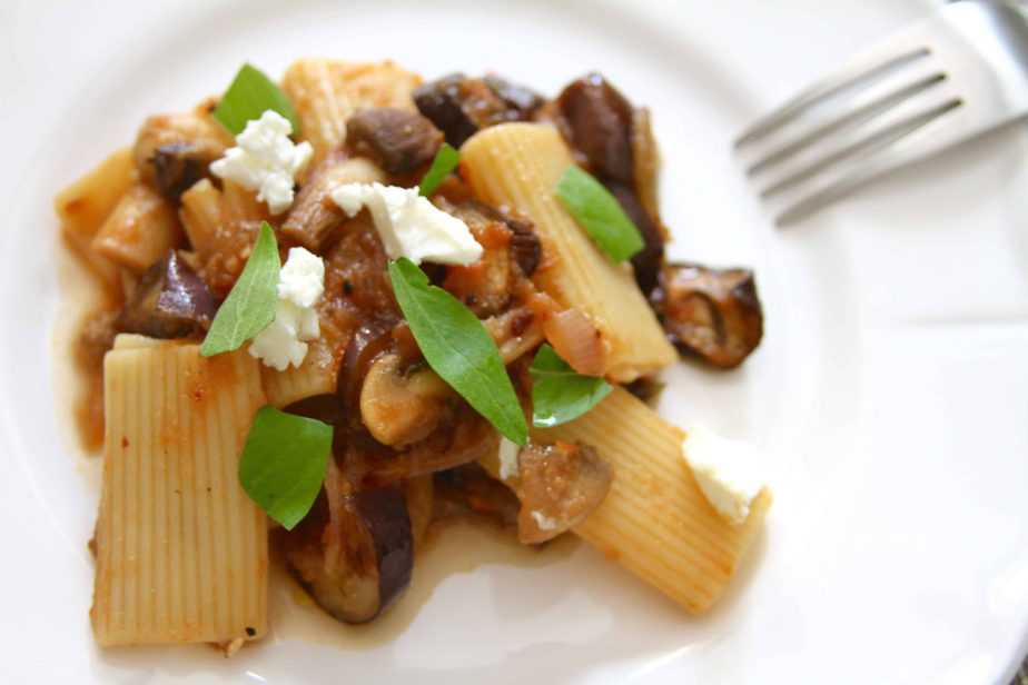 Roasted Eggplant & Mushroom Pasta w/ Caramelized Onions