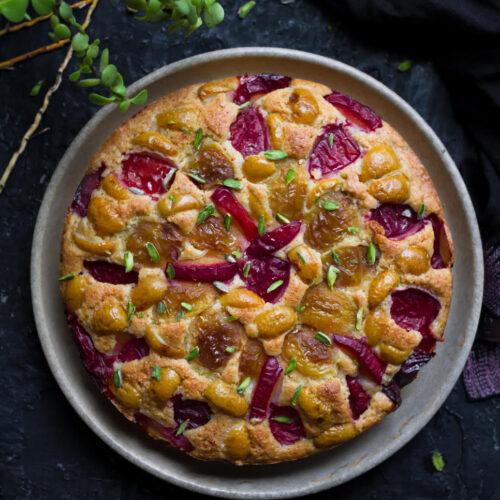 Plum & Apricot Cobbler Cake   Easy Glutenfree recipe