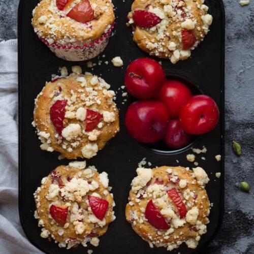 Plum & Cardamom Muffins   Easy healthy eggless plum muffin recipe