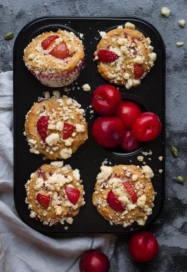 Plum & Cardamom Muffins | Easy healthy eggless plum muffin recipe