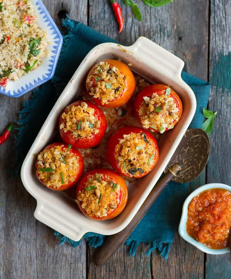 Spicy Millet Stuffed Tomatoes | Healthy Delicious Vegan Stuffed Tomato Recipe