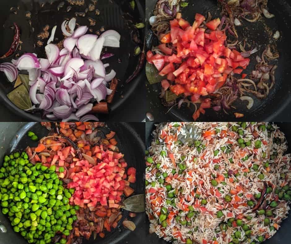 Process for making Fresh Green Chickpea ( Chholiya) Pulao