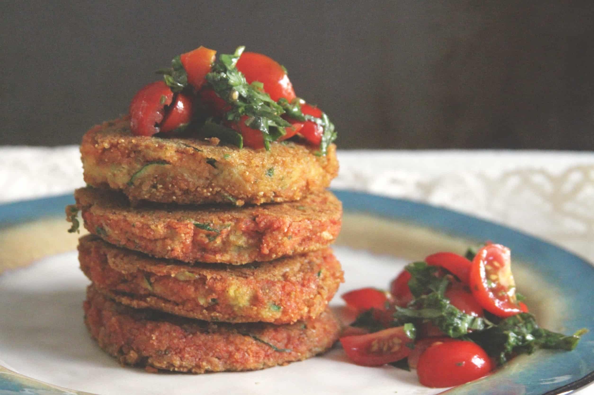 Vegan Cornmeal Zucchini Pancakes