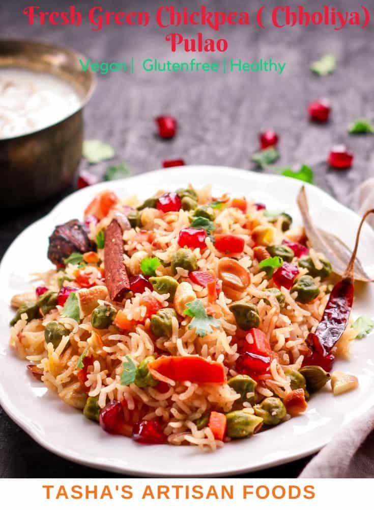 Fresh Green Chickpea (Chholiya) Pulao vegan glutenfree healthy easy rice recipe