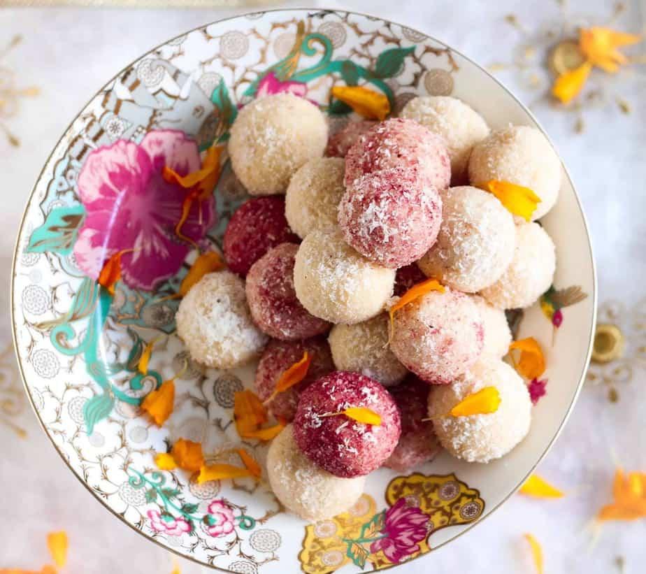 Easy Coconut Ladoo ( laddu), vegetarian, indian dessert, sweet, Diwali, festive season, homemade