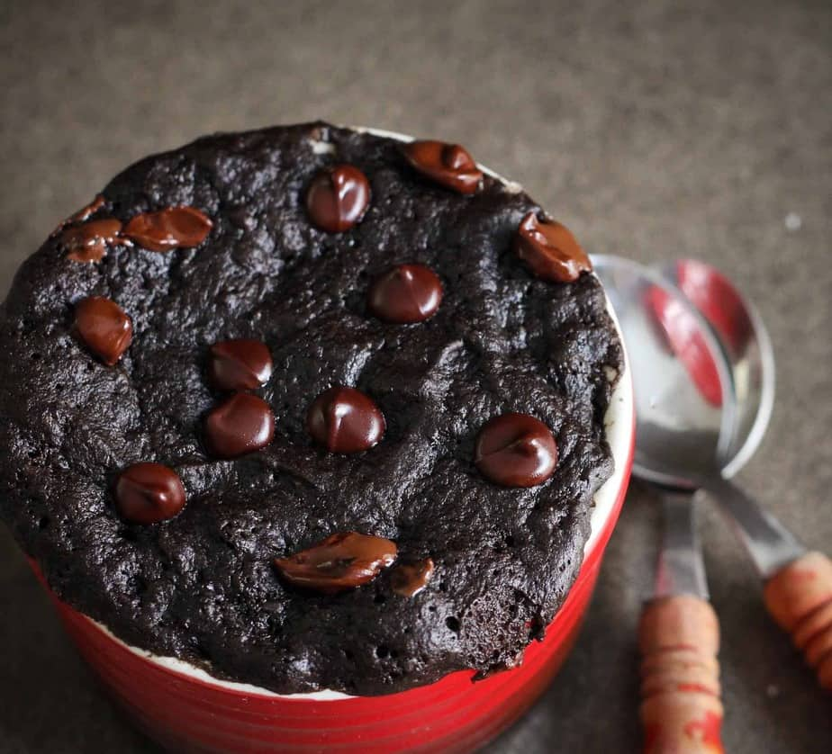 Healthy Chocolate Mug Cake, vegan, eggless, dairy free, gluten free, easy recipe, buckwheat, dessert