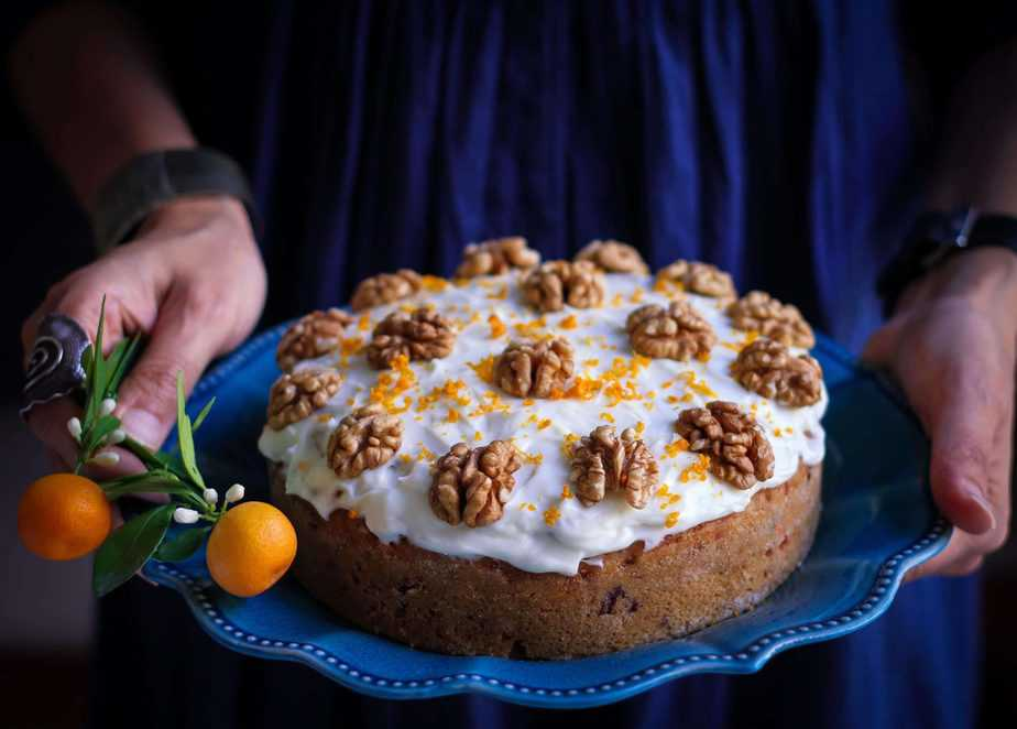 Eggless Wholewheat Carrot Cake moist, fresh orange flavoured, walnuts, dessert, baking, cream cheese frosting, teatime