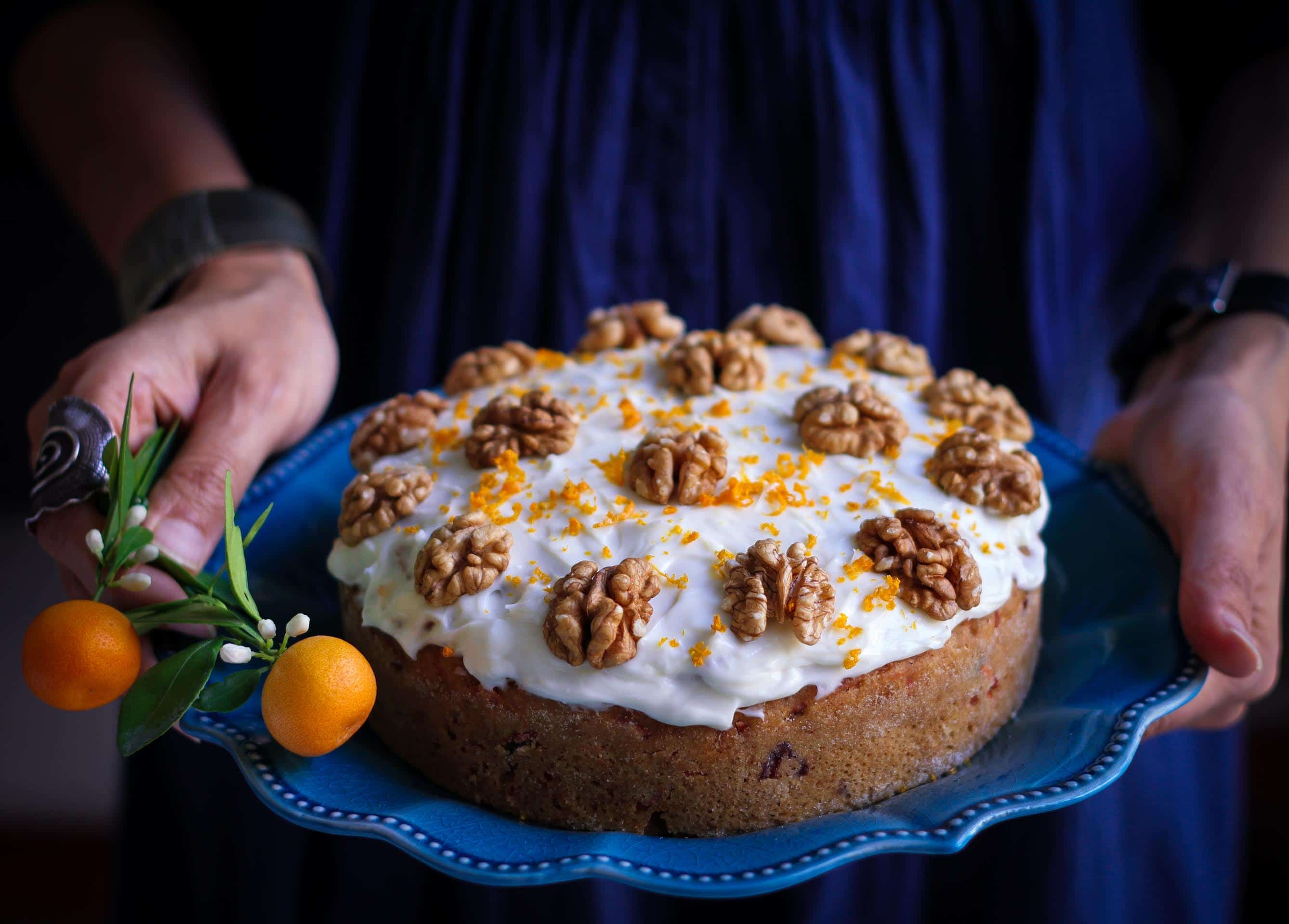 Eggless Wholewheat Carrot Cake