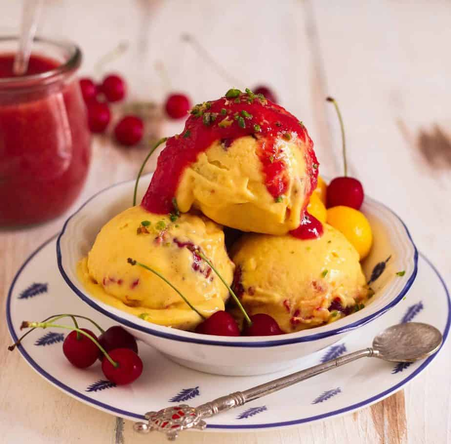 Mango Cherry Frozen Yogurt healthy icecream summer treat dessert