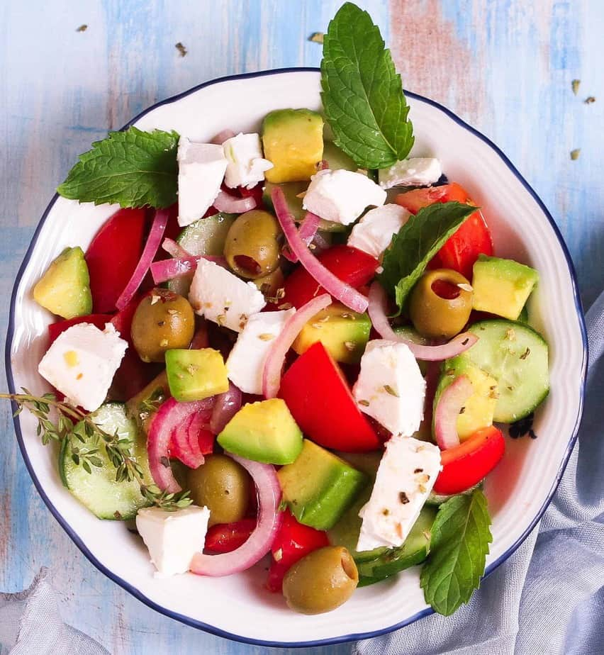 Greek Salad healthy vegetarian easy recipe glutenfree