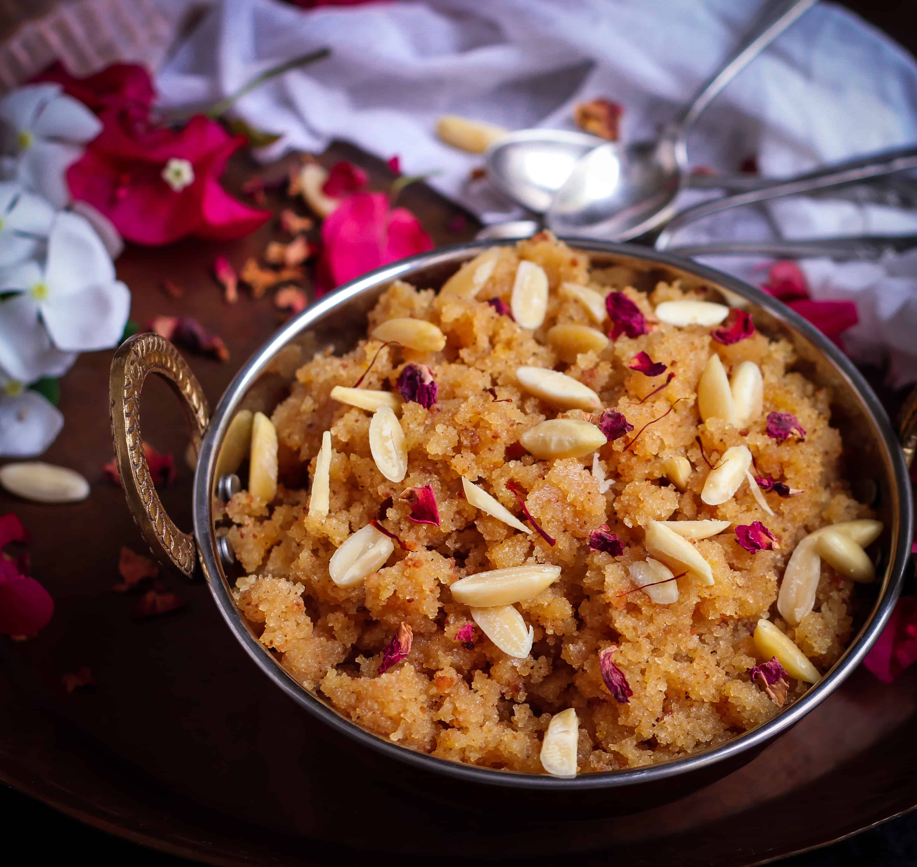 Sooji Badam Halwa | Semolina Almond Pudding