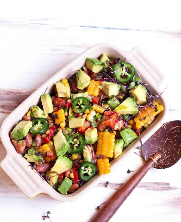 Corn Bean Avocado Salad easy healthy vegan recipe