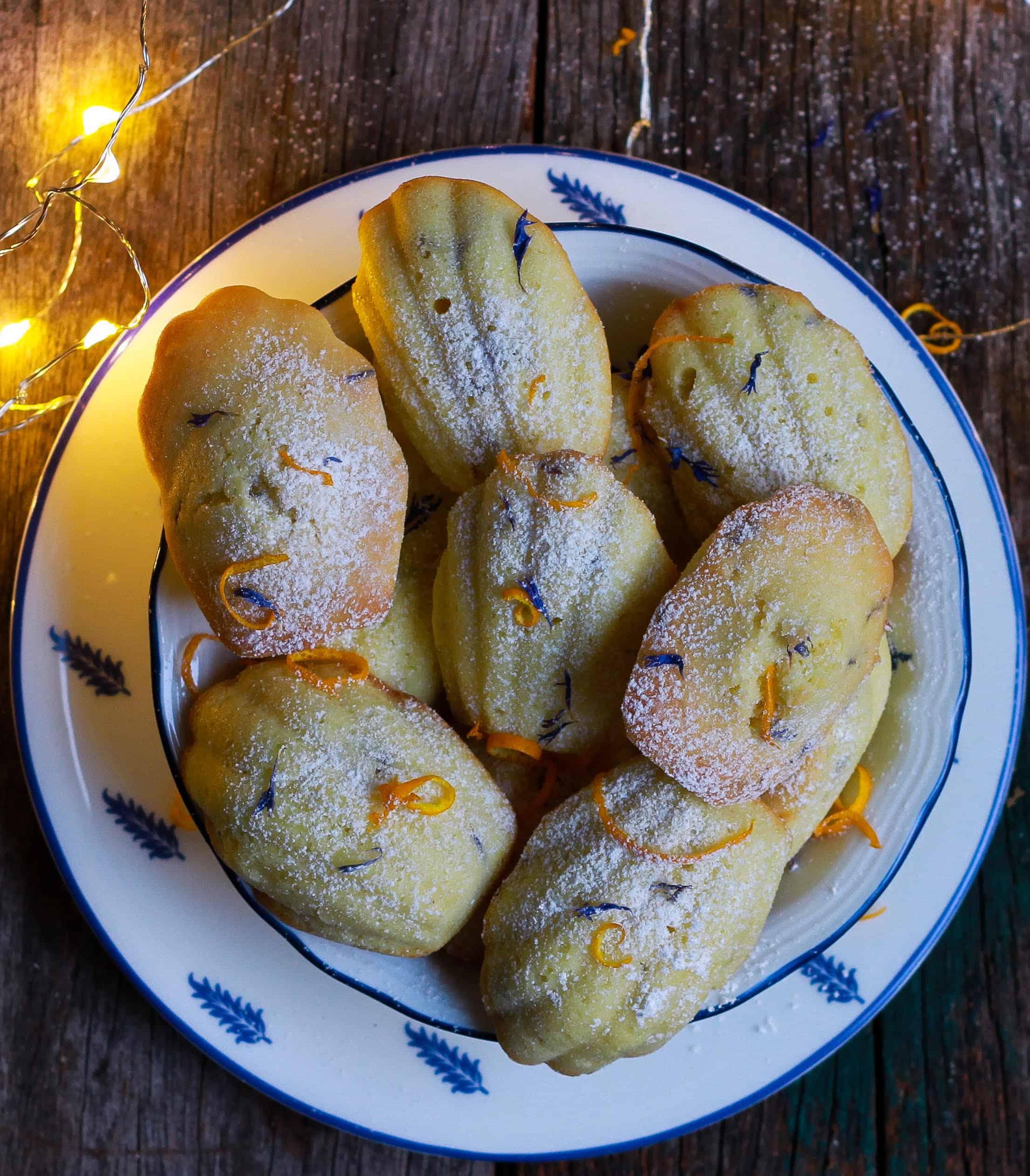 Orange Madeleines w/ dried blue cornflowers French cake