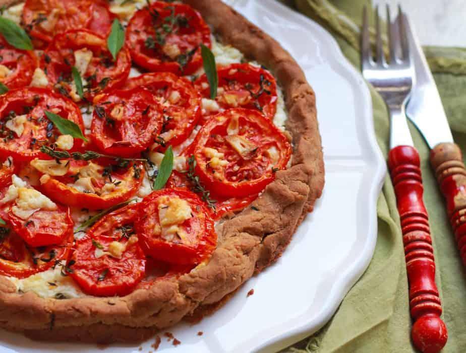 GlutenfreeTomato Feta Tart easy vegetarian recipe