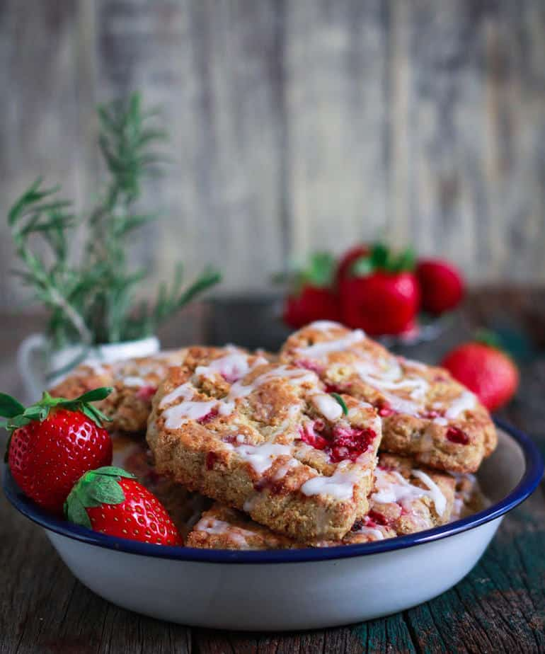 Strawberry & Rosemary Scones glutenfree   eggless  Easy baking with fruits
