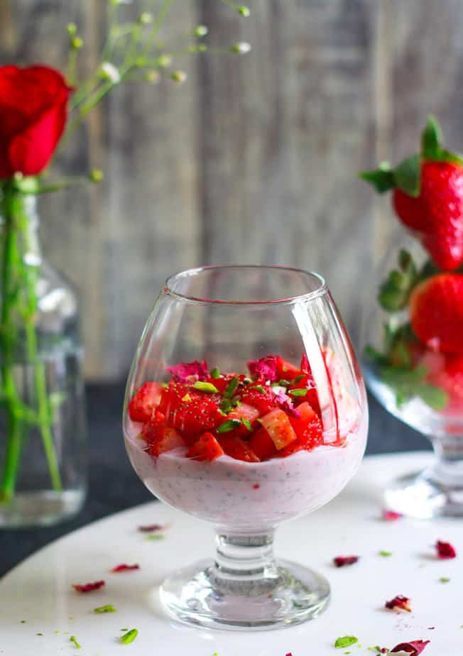 Rose Strawberry Chia Pudding easy healthy glutenfree recipe