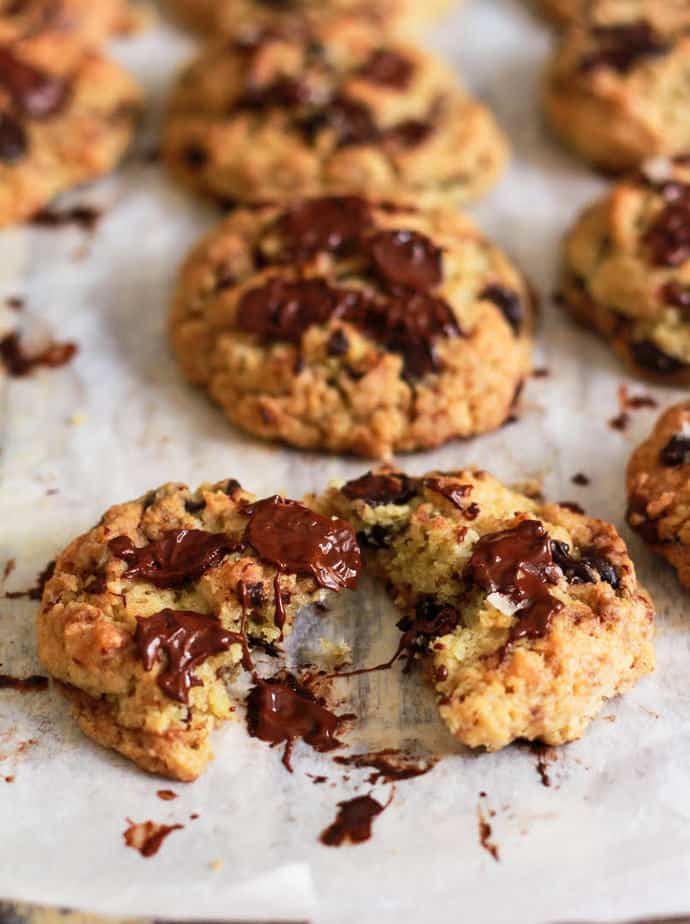Chocolate Chip Tahini Cookies vegan eggless easy recipe