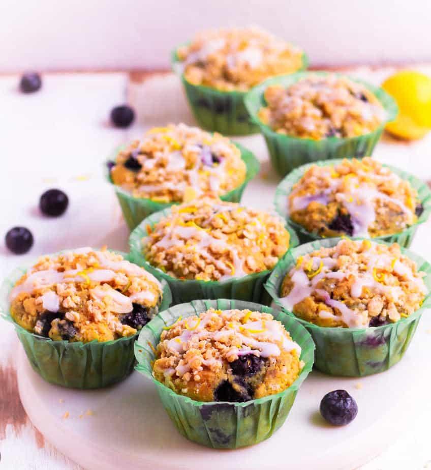 Vegan Blueberry Lemon Muffins with streusel topping and lemon glaze