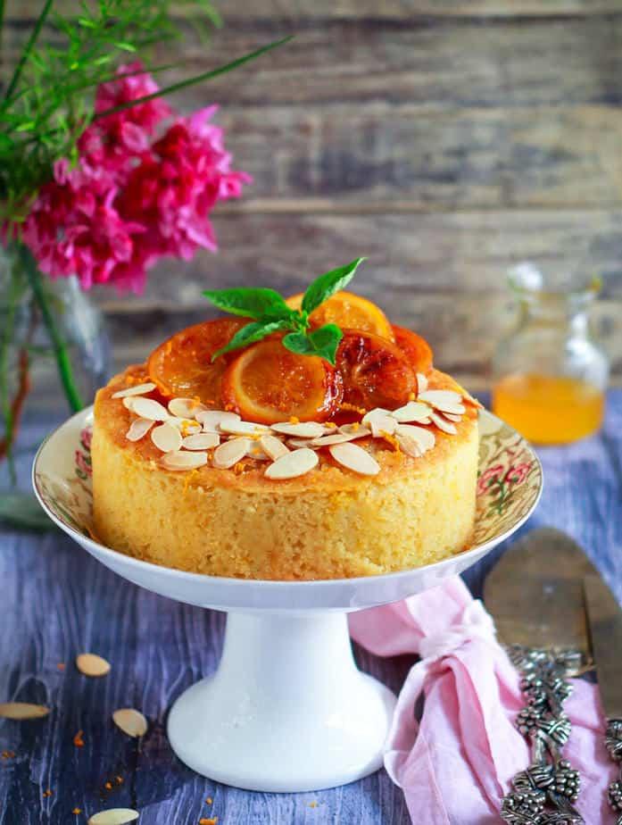 Orange Semolina Almond Cake | Easy eggless cake recipe