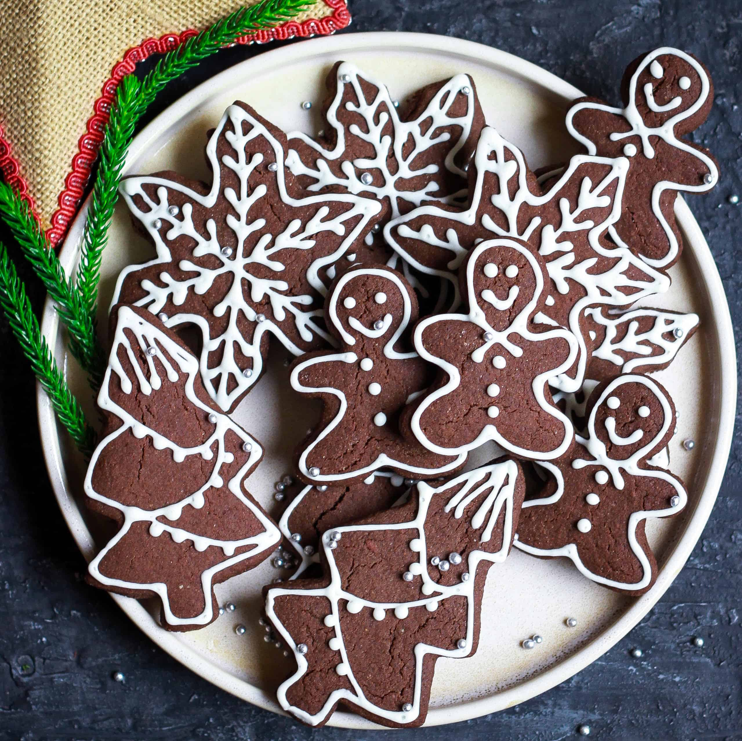 Chocolate Gingerbread Cookies glutenfree eggless recipe Holiday baking