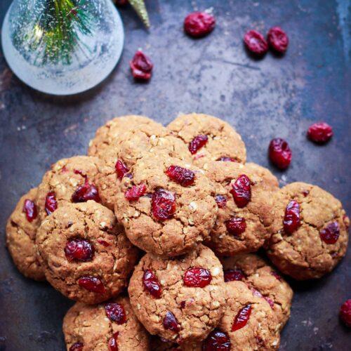 Ginger Cranberry Oatmeal Cookies vegan dairyfree refined sugarfree baking
