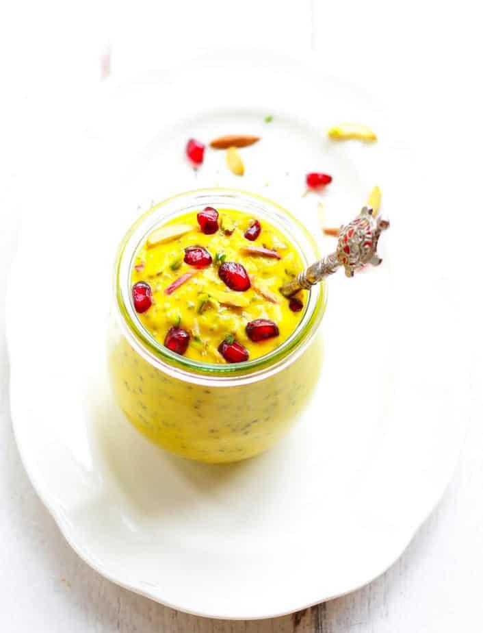 Turmeric Mango Chia Pudding | Easy Breakfast Snack Recipe| Vegan Recipe
