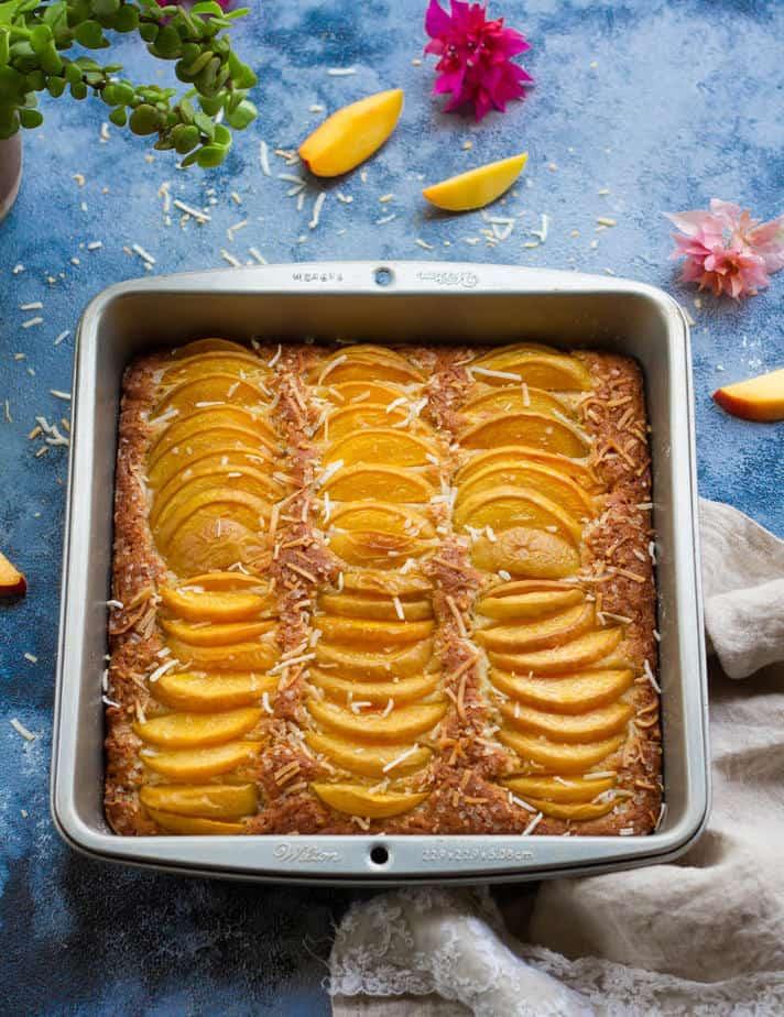 Eggless Coconut Peach Cake