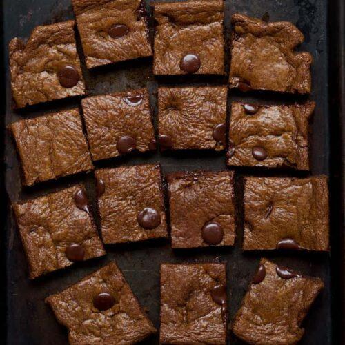 Chocolate Chip Coffee Blondies | Glutenfree recipe
