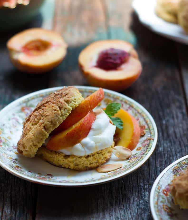 Peach Shortcake | Easy eggless shortcake recipe