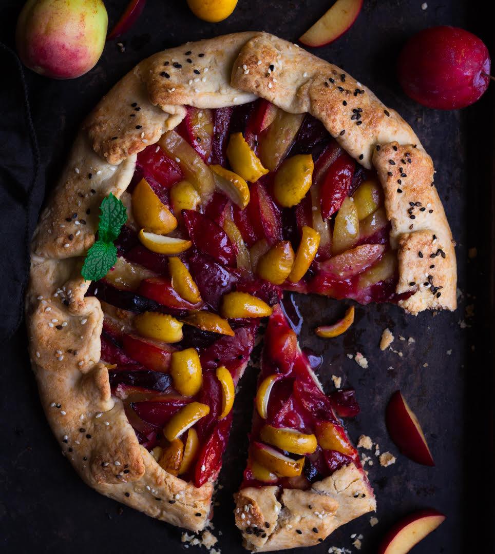 Plum Apricot Sourdough Galette | Summer fruit galette