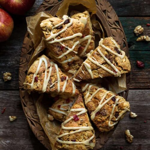 Apple Cranberry Scones | Easy Eggless Scones Recipe