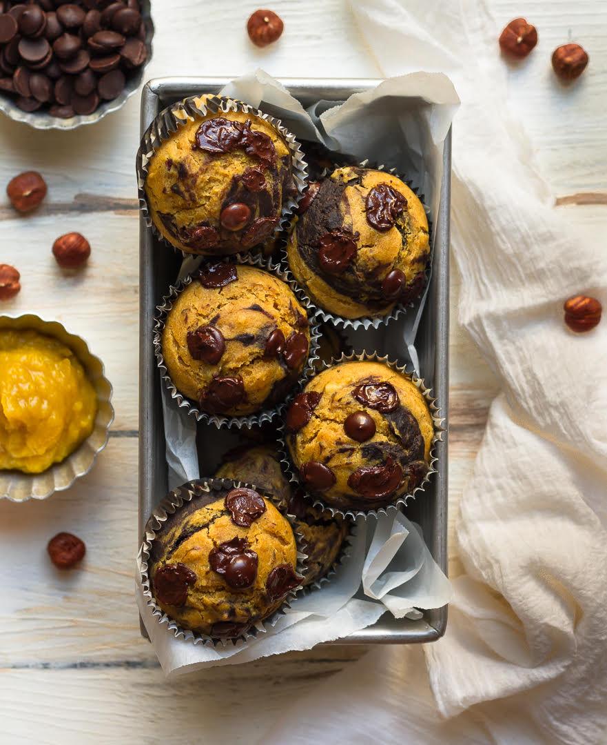 Chocolate Pumpkin Swirl Muffins   Easy vegan pumpkin muffin recipe