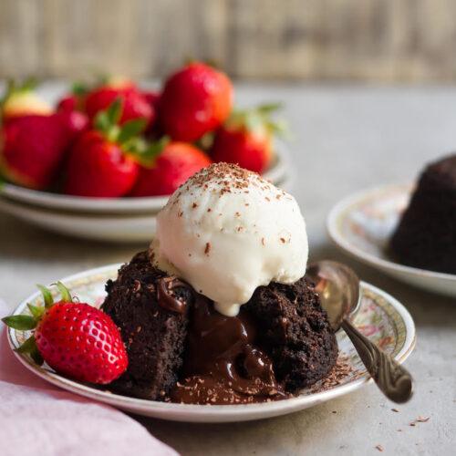 Chocolate Lava Cake   Eggless Molten Chocolate Cake