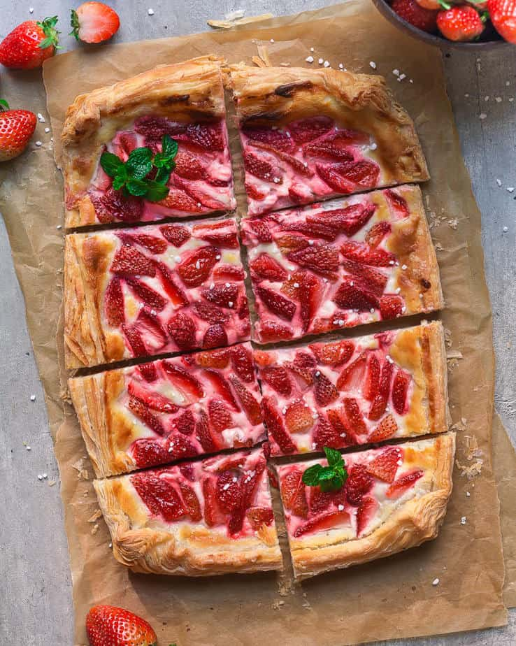 Strawberry Puff Pastry Tart | Easy 5 Ingredient Eggless Strawberry Tart