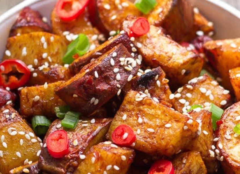 Sticky Chili Sweet Potatoes Recipe