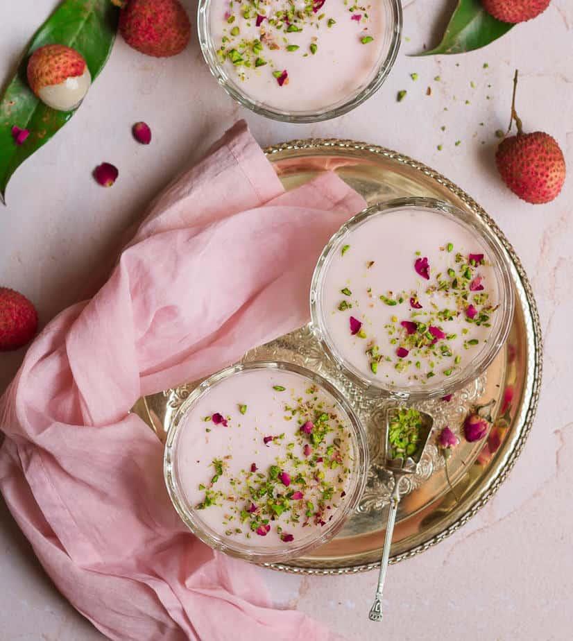 Litchi Rose Panna Cotta | Vegan Lychee Rose Panna Cotta Recipe