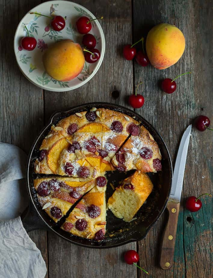 Peach Cherry Cake | Eggless Peach Cherry Greek Yogurt Cake