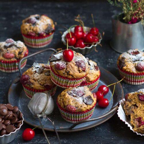 Vegan Chocolate Cherry Muffins | Easy Fresh Cherry Muffins with Chocolate