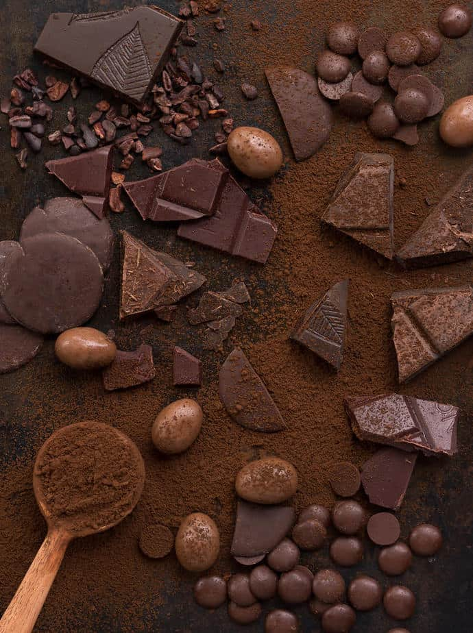 Different types of Chocolate, cocoa powder and cocoa nibs