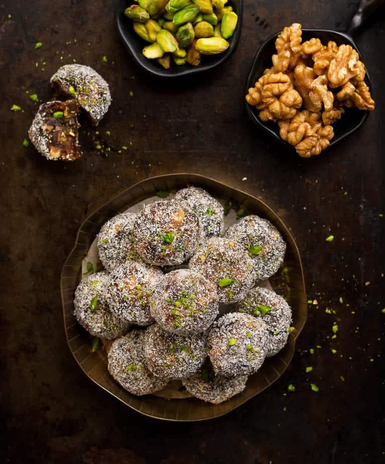 Date and nut rolls   Vegan Date and nut rolls   khajur rolls